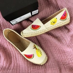 NWT J Crew canvas espadrilles/embroidered fruits